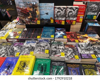 Klang, Malaysia - 30 July 2020 : Many books of J.K. Rowling Harry Potter displayfor sell in the book stores with selective focus at Klang, Malaysia.