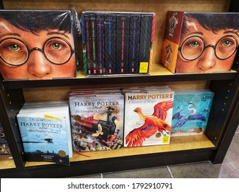 Klang, Malaysia - 30 July 2020 : Upclose a J.K. Rowling Harry Potter books displayfor sell on the shelf at book stores with selective focus at Klang, Malaysia.