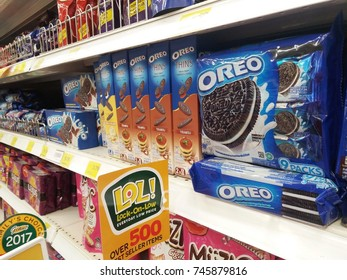 Klang , Malaysia - 30th October 2017 : Variety Oreo cookies on the shelves in hypermarket.Mobile photoghpy.