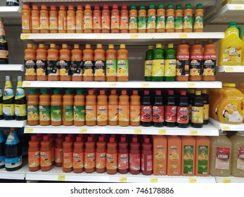 Klang , Malaysia - 30th October 2017 : View of various brand Sunquick on the shelves at hypermarket. Sunquick is a product of CO-RO A/S a Danish company.Mobile photoghpy.