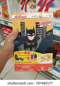 Klang , Malaysia - 3rd January 2018 : Hand hold a box of KELLOGG'S whole grain with real honey in the supermarket