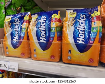 Klang, Malaysia - 4 December 2018 : Upclose a new design packed of Horlicks, a healthy malted milk drinks for sell in the supermarket shelf.