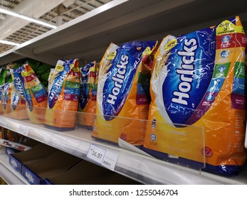 Klang, Malaysia - 4 December 2018 : View a new design packed of Horlicks, a healthy malted milk drinks for sell in the supermarket shelf.