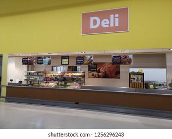 Klang, Malaysia - 4 December 2018 : Interior View of Deli Shop inside the supermarket
