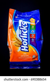 Klang , Malaysia - 5 August 2017 : Horlicks is a malted milk hot drink, sold in powdered form. Founded by James and William Horlick. Now manufactured by GlaxoSmithKline