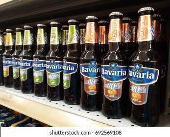 Klang , Malaysia - 8 August 2017 : Bavaria Holland is a brand name of malt drink assorted flavours display on the shelf in supermarket