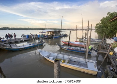 KLANG, MALAYSIA - FEBRUARY 12, 2016 : Fisherman's  Jetty at Sunset  The fisheries sector is an important sub-sector in Malaysia and plays a significant role in the national economy.
