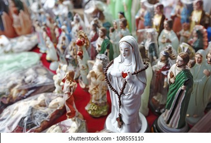 KLANG, MALAYSIA - JULY 21: Catholic wax idol in St. Anne Church on July 21, 2012 in Port Klang, Malaysia. The idols are displayed to celebrate the annual Feast of Saint Anne each July.
