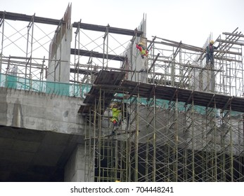 KLANG, MALAYSIA -JULY 25, 2017: Scaffolding used as the temporary structure to support building structure during construction. Also used as working platform for workers to work.