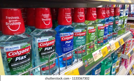 Klang, Malaysia - July 7, 2018 : Colgate Plax Mouthwash on supermarket shelf. Colgate offering a diverse range of oral hygiene product that sold worldwide