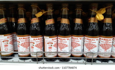 Klang, Malaysia - June 2, 2018 : View image of ketchup soya bean sauce bottle in the supermarket.