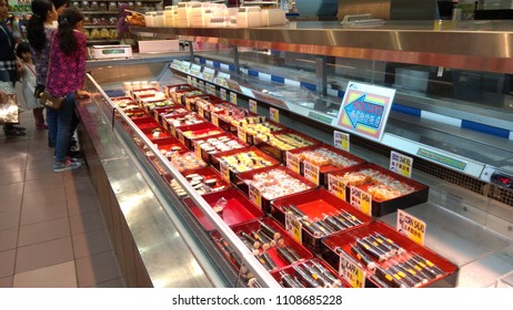 Klang, Malaysia - June 2, 2018 : View of variety suchi display for sell in the supermarket.