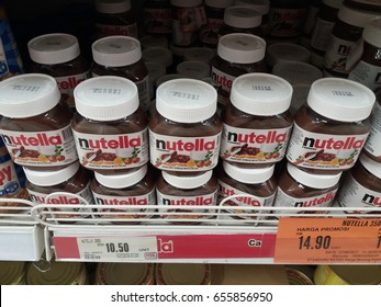 Klang , Malaysia - June 7th 2017 : Nutella is a brand name of chocolate hazelnut spread with cocoa on the shelf in supermarket.