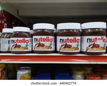 Klang , Malaysia - May 13th , 2017 : Nutella is a brand name of chocolate hazelnut flavored on the shelf in supermarket.