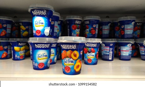 Klang , Malaysia - May 26, 2018 : View of NESTLE Fat free yogurt for sell in the supermarket shelves.