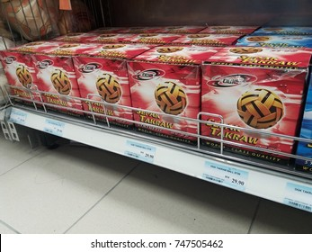 Klang , Malaysia - October 2 , 2017 : Display of takraw ball on the shelf in supermarket.