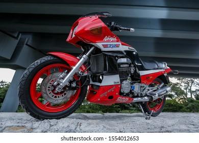 KLANG, MALAYSIA - OCTOBER 30, 2019. The retro Kawasaki GPZ 900 R superbike during the test ride in Klang, Selangor.
