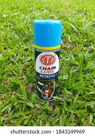 Klang, Malaysia : October 30th, 2020. STP High Performance Anti-Fling Chain Lube Motorcycle