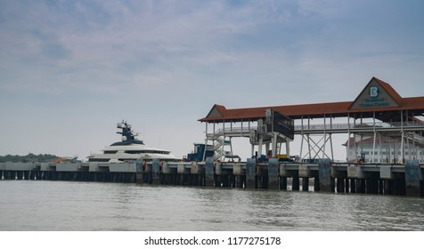 KLANG, MALAYSIA : SEPT 9, 2018: Yacht Equanimity purportedly belonging to businessman Jho Low at Port Klang. Equanimity was handed to Malaysia as part of an ongoing investigation to the 1MDB scandal