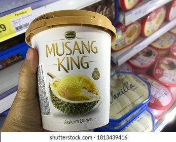 KLANG, MALAYSIA - September 12, 2020 : Nestle brand ice cream with durian flavor, Musang King