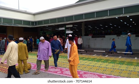 Klang, Malaysia - September 1,2017 : male Muslims after performing the Jummah prayer on Friday in Klang, Malaysia.