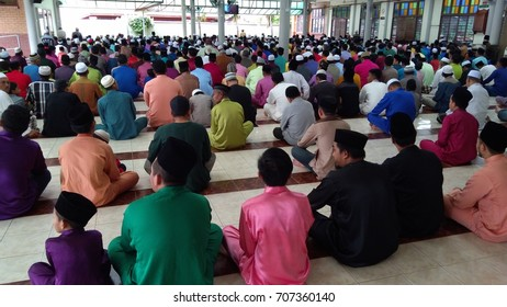 Klang, Malaysia - September 1,2017 : male Muslims performing the Jummah prayer on Friday in Klang, Malaysia.