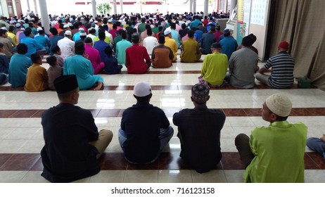 Klang, Malaysia - September 1,2017 : male Muslims  performing the Jummah prayer on Friday in Klang, Malaysia.