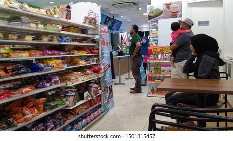 KLANG, MALAYSIA - SEPTEMBER 2, 2019 : Inside Familymart convenience store KLANF, Malaysia. FamilyMart is the third largest Japanese convenience store franchise chain in Japan and operating in Asia.