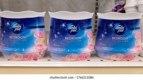 Klang, Selangor, Malaysia: 30th June 2020 - A row of Ambi Pur Bedroom perfume displayed for sale the supermarket.Ambi Pur is a brand of air freshener products owned by Procter & Gamble.