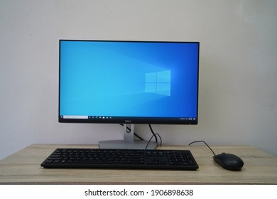 Klang Selangor, Malaysia - February 1,2021 : Complete Dell desktop set with Microsoft Windows 10 as operating system.