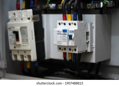Klang Selangor, Malaysia - February 2, 2021 : Selective focus of Residual Current Circuit Breaker is a switch that automatically operates when the leakage current in the circuit exceeds.