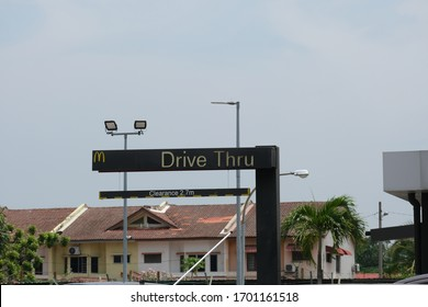 """Klang,Malaysia- Circa April, 2020: A picture of overhead McDonald drive thru sign. Only drive thru and food delivery allow to operate during movement restriction order."