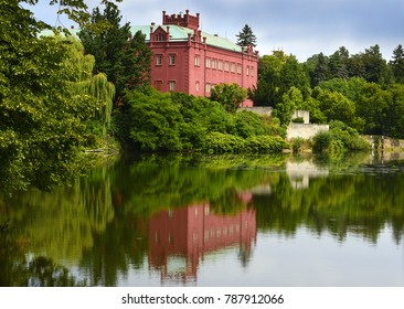 Klasterec nad Ohri, Neo-Gothic castle on the bank of the Eger River (river Ohre), Czech republic