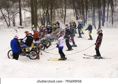 KLASTEREC NAD ORLICI, CZECH REPUBLIC - JANUARY 29: Motorcycle skijoring racers prepare for ride on January 29, 2017 in Klasterec nad Orlici, Czech republic.
