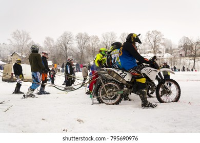 KLASTEREC NAD ORLICI, CZECH REPUBLIC - JANUARY 29: Motorcycle skijoring racers prepare for ride on January 29, 2017 in Klasterec nad Orlici, Czech republic.