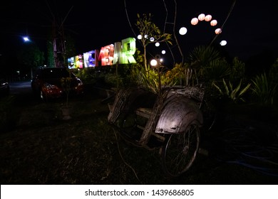 Klaten, Central Java, Indonesia - June 30, 2019: The entrance to the Taman Lampion Candi Plaosan. also known as Candi Kembar