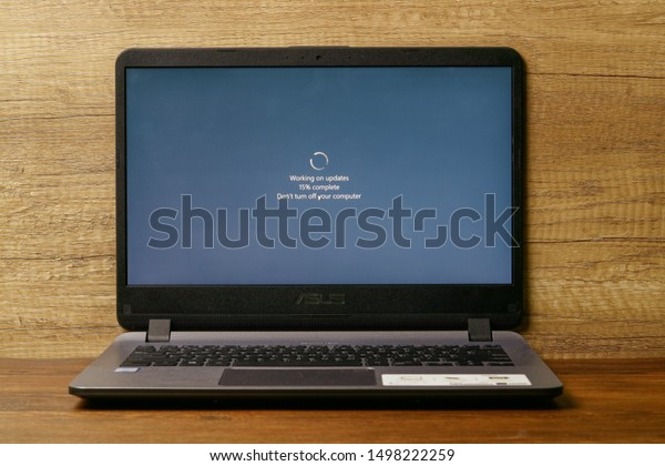 Klaten, Central Java / Indonesia - September 04, 2019: The laptop with windows update on screen. Its offers increased security in the operating system