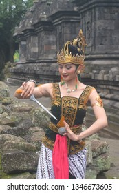 Klaten Indonesia. January 27th 2019.  Traditional Javanese girl wearing beautiful costume with keris,  asymmetrical dagger,  cultural blade.