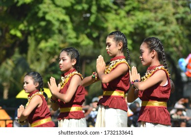 Klaten Indonesia. July 6th 2019. Traditional Javanese children dancers. Beautiful colorful unique costumes