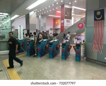 KLCC, Kuala Lumpur, Malaysia, 23rd September 2017 - Entrance of a Light Railway Transit known as LRT at one of the station at KLCC