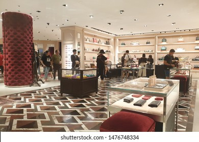 KLCC, MALAYSIA - JULY 27, 2019: The Gucci store in Suria KLCC mall. Gucci is an Italian luxury brand of fashion and leather goods, part of the Gucci Group owned by the French holding company Kering.