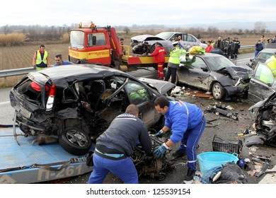 KLEIDI,GREECE - JAN,22: 28 vehicle pile-up on the Egnatia motorway in Kleidi after the crash that occurred early today due to fog on 22 January, 2013. One woman died and 26 others where injured