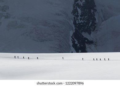 Klein Matterhorn, SWITZERLAND - August 3, 2017. Climbers during the ascent of the Breithorn mountain, in the Swiss Alps.