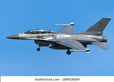 Kleine Brogel, BELGIUM - August 7th 2017: A Belgian Air Force (General Dynamics / Lockheed Martin) F16BM / FB23 Fighting Falcon/Viper fighter jet turns in for landing at Runway 23R.