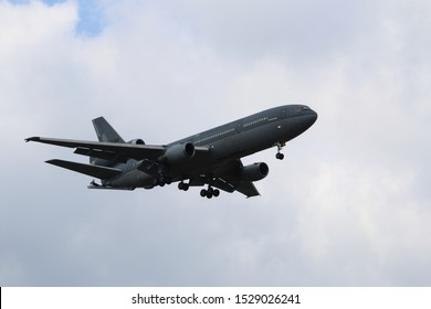 Kleine Brogel, Belgium - SEP 08, 2018: Dutch air force McDonnell Douglas KDC-10 refeuling aircraft flying in the air.