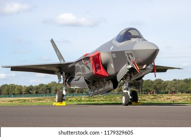 KLEINE BROGEL, BELGIUM - SEP 8, 2018: Italian Air Force Lockheed Martin F-35 Lightning II fighter jet plane on the tarmac of Kleine-Brogel Airbase.