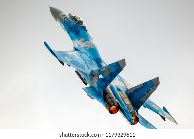 KLEINE BROGEL, BELGIUM - SEP 8, 2018: Ukrainian Air Force Sukhoi Su-27 Flanker fighter jet take off from Kleine-Brogel Airbase.