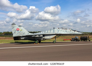 KLEINE BROGEL, BELGIUM - SEP 8, 2018: Slovak Air Force MiG-29 Fulcrum fighter jet aircraft on the tarmac of Kleine-Brogel Airbase.