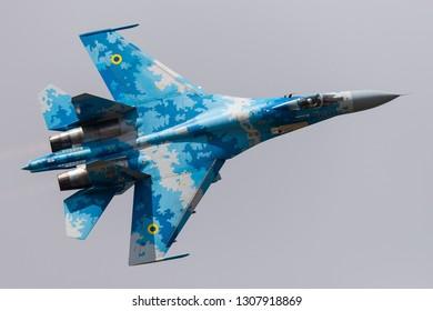 KLEINE BROGEL, BELGIUM - SEP 8, 2018: Ukrainian Air Force Sukhoi Su-27 Flanker fighter jet performes at the Kleine-Brogel Airbase in Belgium, 2018.
