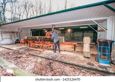 Kleine Noorddijk, Amsterdamse Bos, Amstelveen, The Netherlands, January 21, 2011: Wood-Mizer LT20 sawing machine in stationary arrangement processes felled logs from Amsterdamse Bos into lumber